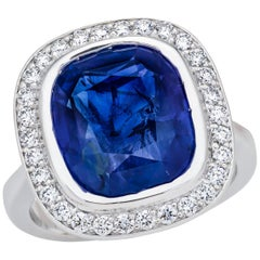 10.23 Carat Sri Lanka Sapphire GIA Certified, Unheated Ceylon Ring, Cushion Cut