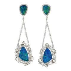 10.24 Carat Opal Diamond 18 Karat Gold Earrings