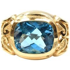10.25 Carat Blue Topaz 14 Karat Yellow Gold Ring