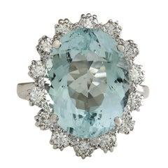 10.25 Carat Natural Aquamarine 18 Karat White Gold Diamond Ring