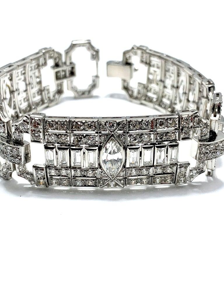 10.25 Carat Art Deco Style Diamond and Platinum Bracelet For Sale 5