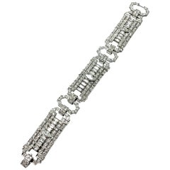 10.25 Carat Art Deco Style Diamond and Platinum Bracelet