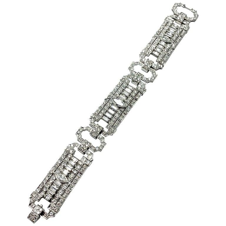 10.25 Carat Art Deco Style Diamond and Platinum Bracelet For Sale