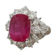 10.27 Carat Burmese Pink Sapphire Diamond Platinum Ring, AGL Certified