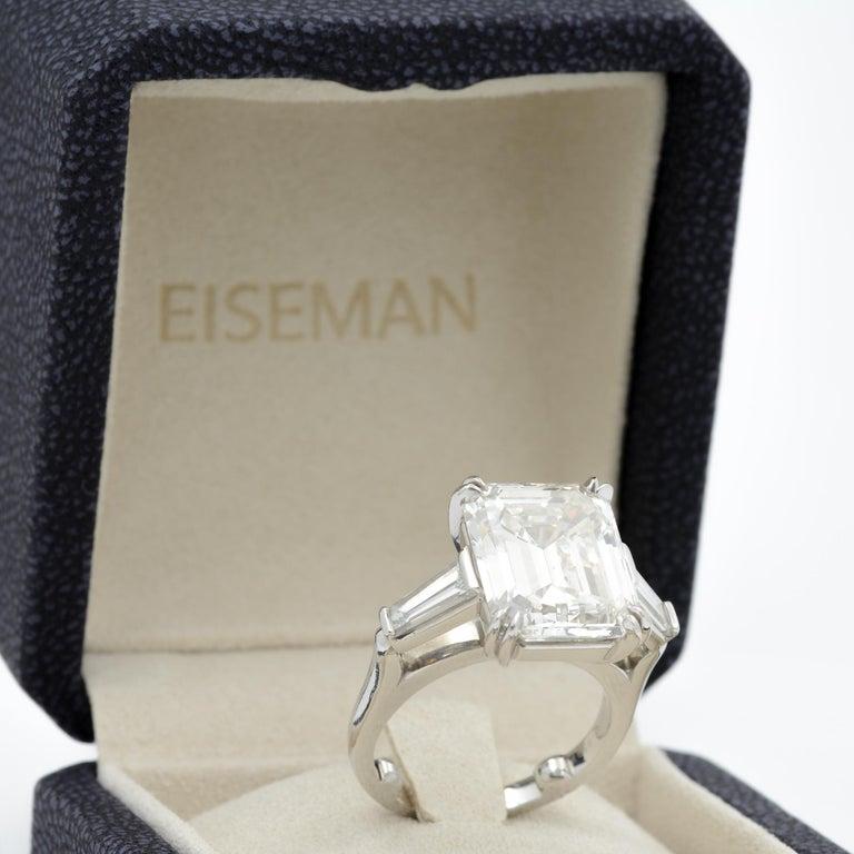 10.27 Carat Emerald Cut Diamond Platinum Ring 8