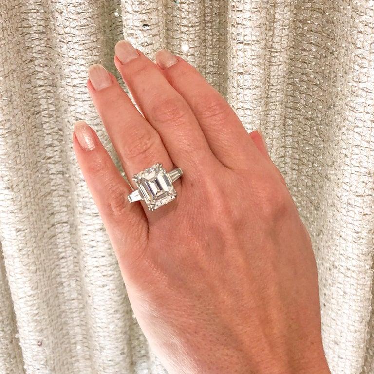 10.27 Carat Emerald Cut Diamond Platinum Ring 9