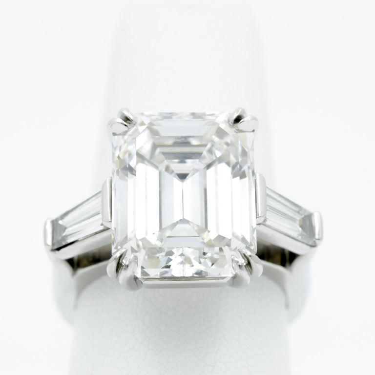 Modern 10.27 Carat Emerald Cut Diamond Platinum Ring