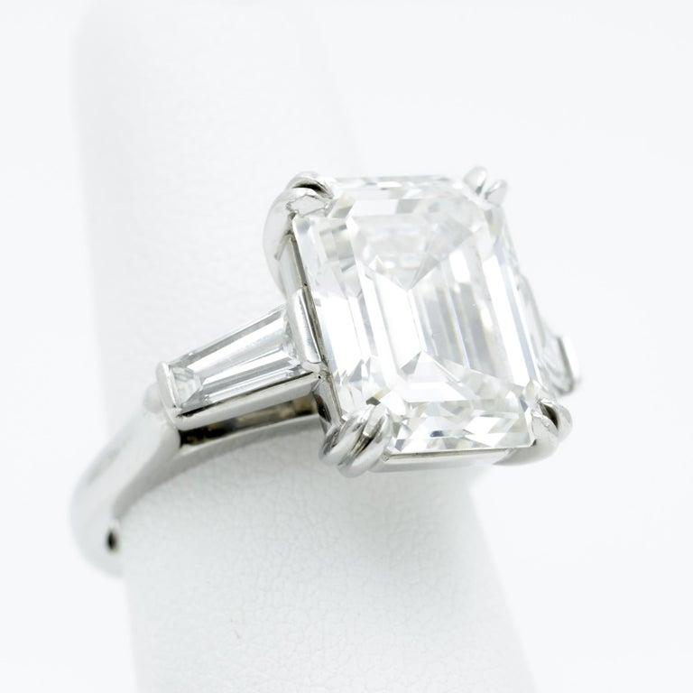 10.27 Carat Emerald Cut Diamond Platinum Ring In Excellent Condition In Dallas, TX
