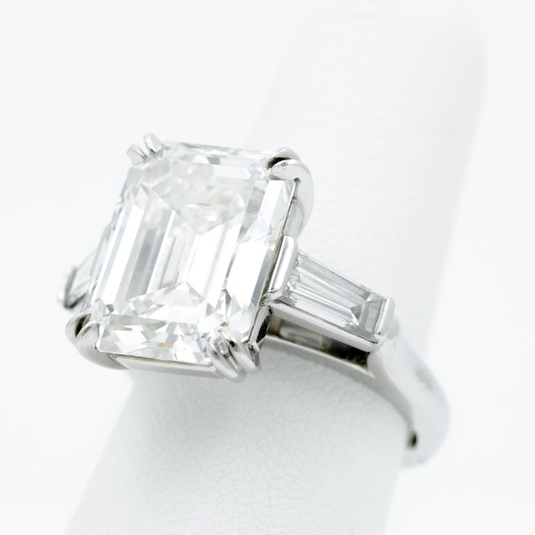 Women's 10.27 Carat Emerald Cut Diamond Platinum Ring
