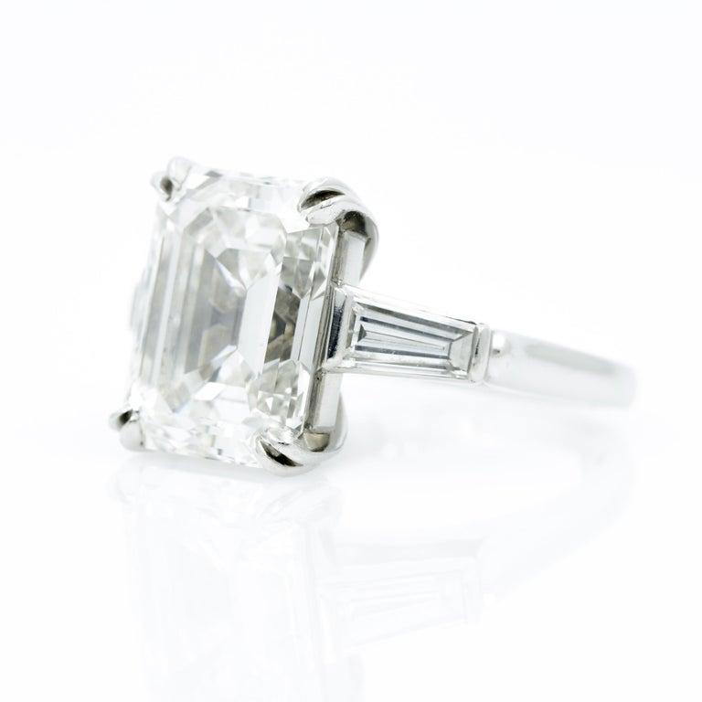 10.27 Carat Emerald Cut Diamond Platinum Ring 2