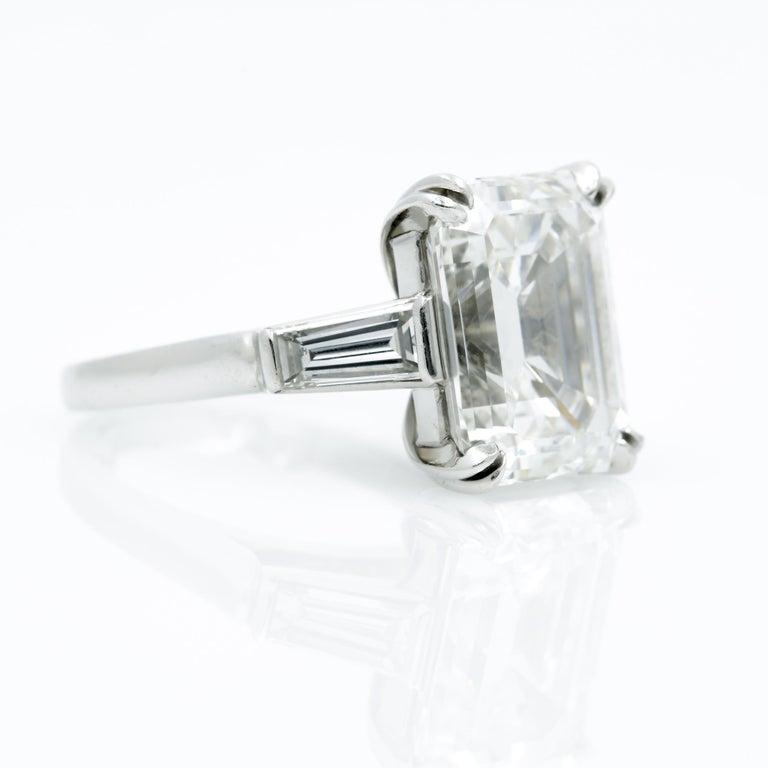 10.27 Carat Emerald Cut Diamond Platinum Ring 3