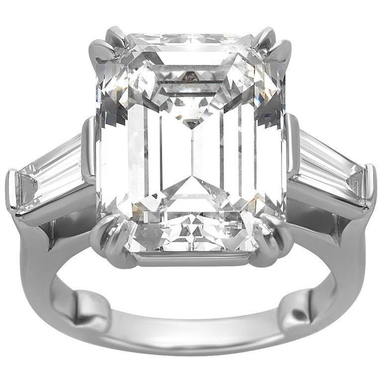 10.27 Carat Emerald Cut Diamond Platinum Ring