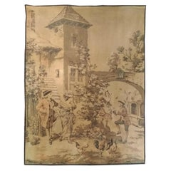 1028 - Antique French Jaquar Aubusson Style Tapestry