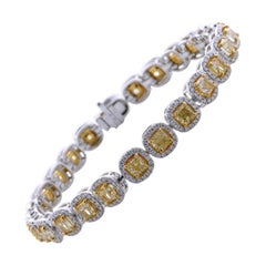 10.28 Carat Cushion Cut Fancy Yellow VS2+ Diamond Tennis Bracelet 18 Karat Gold
