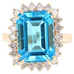 10.28 Carat Yellow Gold Blue Topaz Diamond Ring