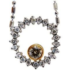 1.02 Carat Natural Yellow Brown Diamond Circle Eternity Necklace