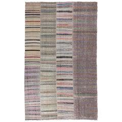 Vintage Anatolian Kilim Rug with Striped Design, Flat-Weave Carpet