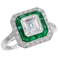 1.03 Carat Asscher Cut Diamond Emerald Halo Platinum Ring
