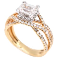 1.03 Carat Baguette Diamond Dainty Crossover Ring in 18 Karat Gold