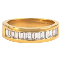 1.03 Carat Baguette Diamond Eternity Band Bezel Set 18k Yellow Gold Half Band