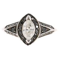 1.03 Carat Black and White Diamond 14 Karat White Gold Engagement Ring