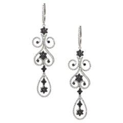 10.3 Carat Black and White Diamond Flower Dangle Earrings 14 Karat in Stock