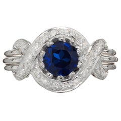 1.03 Carat Ceylon Sapphire Diamond Halo Platinum Engagement Ring