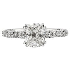 1.03 Carat Cushion Cut Diamond Pave Engagement Ring