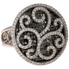 1.03 Carat Diamond Cocktail Ring with Black Rhodium in 14 Karat White Gold