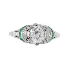 1.03 Carat Diamond Engagement Ring with Emeralds