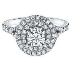 1.03 Carat Diamond Round Double Halo Ring in 14 Karat White Gold, Shlomit Rogel