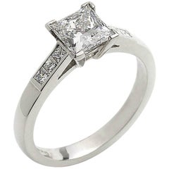 1.03 Carat GIA Cert Princess Cut Diamond Platinum Ring