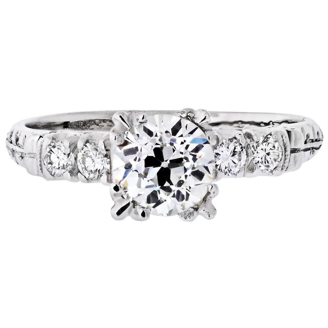 1.03 Carat Old European Cut Diamond J/VS2 GIA Engagement Ring