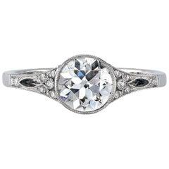 1.03 Carat Old European Cut Diamond Set in a Platinum Ring.