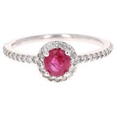 1.03 Carat Ruby Diamond 14 Karat White Gold Ring