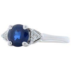 1.03 Carat Sapphire and Trillion Diamond Cocktail Ring in 14 Karat Gold