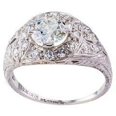 1.03 Carats G VVS2 Art Deco Engagement Ring