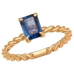 1.03 Carat Blue Sapphires 14 Karat Rose Gold Ring