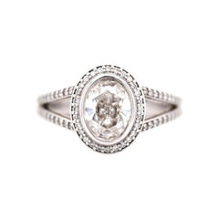 1.03 Oval Diamond Engagement Ring in a Halo Setting with a Split Diamond Shank