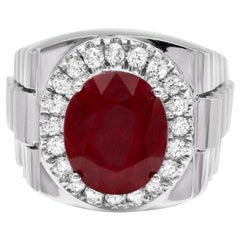 10.30 Carat Natural Diamond and Ruby 14 Karat Solid White Gold Men's Ring