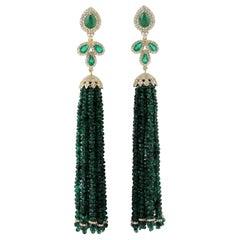 103.05 Carat Emerald Diamond 18 Karat Gold Tassel Earrings