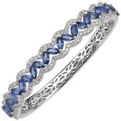 10.33 Carat Marquise and Round Sapphire Diamond 18 Karat Gold Bangle Bracelet