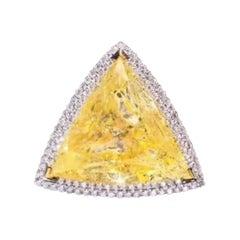 10.35 Carat Fancy Yellow Diamond Ring 18 Karat White Gold