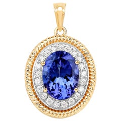 10.36 Carat Genuine Tanzanite and Diamond 18 Karat Yellow Gold Pendant