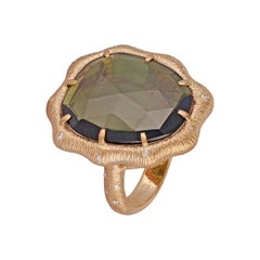 10.36 Carat Green Tourmaline Ring in 18 Karat Textured Gold