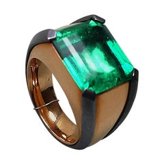 10.37 Carat Natural Colombian Emerald Rose Gold Cocktail Ring with Bronze Prongs