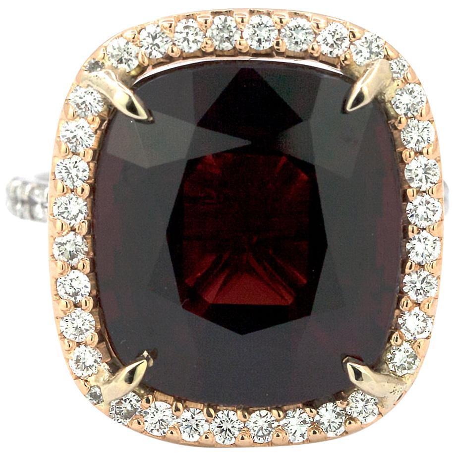 10.39 Carat Cushion Cut Certified Burma Spinel and Diamond Ring
