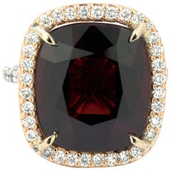 10.39 Carat Cushion Cut Certified Burma Spinel and Diamond Ring