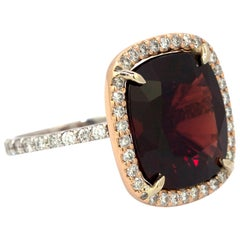 10.39 Carat Untreated Red Spinel and Diamond Ring with Gubelin Report #16062008