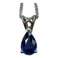 1.03ct Vivid Blue Ceylon Sapphire 18k White Gold Pear Cut Heart Pendant Necklace